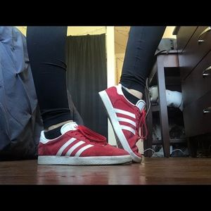 Red Addias Gazelle sneakers